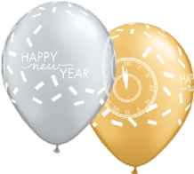 "New Year Balloons - 11"" Confetti Countdown (25pcs)"